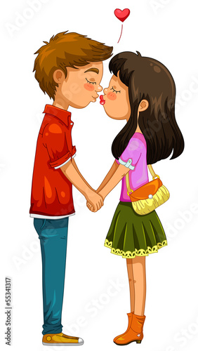 young boy and girl holding hands and kissing