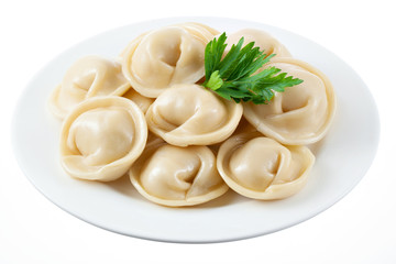 Dumplings on white plate isolated