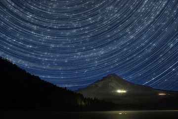 Star Trails and Perseid Media Shower Over Mount Hood