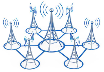 digital transmitters sends signals from high tower