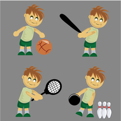 boy playing different sports