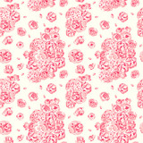 Pink seamless pattern with peonies and roses