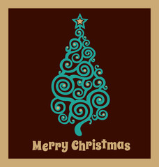 Christmas card with the emerald tree
