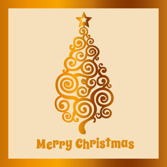 Beige Christmas card with golden Christmas tree