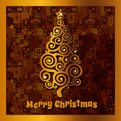 Card with golden Christmas tree and a brown background