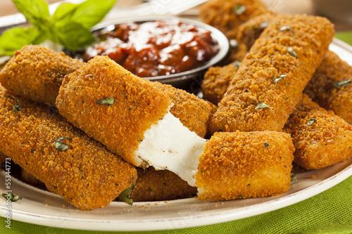 Fotobehang Zuivelproducten Homemade Fried Mozzarella Sticks