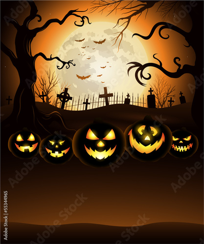 Orange Halloween background with moon and cemetery eps 10