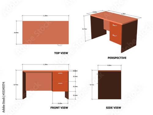 Office Table Plan Front Side Perspective View With Dimension