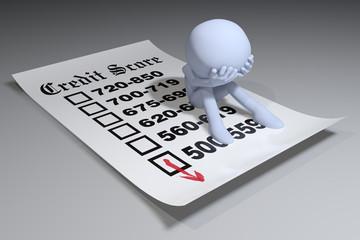 Person bad credit bureau score report