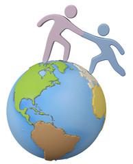 Helper reach help friend up global world