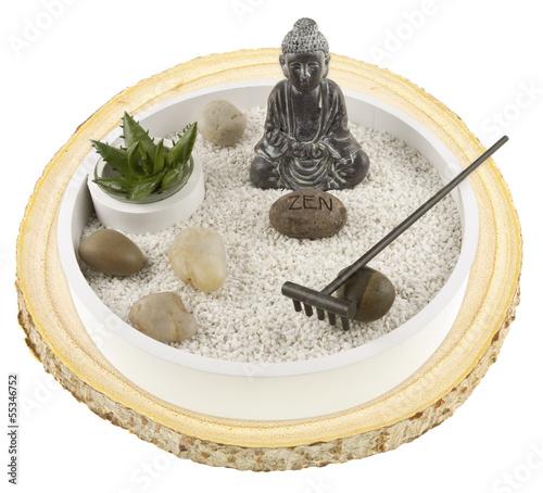 mini jardin zen sur rondelle de bois