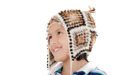 Little hispanic girl with peruvian hat