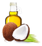 Coconut oil with palm leaves isolated on white.