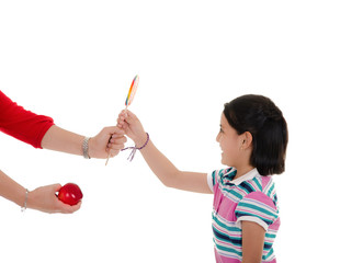 Little girl and big lollipop
