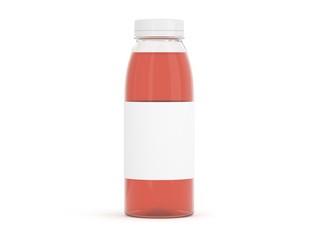 Flasche aus Plastik rot mit Etikett
