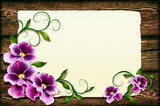 Pansies on a wooden background