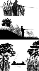 three compositions with  fishermen silhouettes