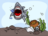 Shark Catching Fish - Vector Illustration