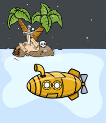 Submarine Trying to Find Treasure - Vector Illustration