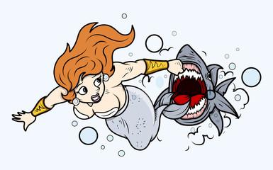 Shark Attack to Mermaid Under Sea - Vector Illustration
