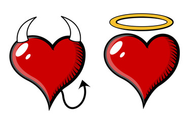 Good and Bad Heart - Vector Illustration