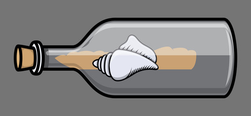 Seashell in Old Bottle - Vector Illustration