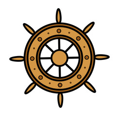 Old Ship Wheel - Vector Illustration