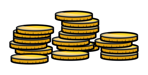 Gold Coin Stack - Vector Illustration