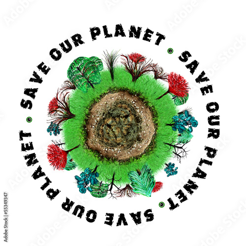 Planet earth icon with slogan
