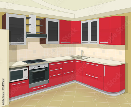 kitchen interior with furniture vector illustration EPS10.