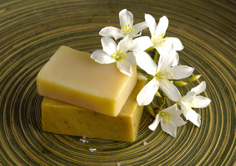 White branch frangipani and stacked soap on wooden plate