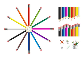 Set of colored pencils and drawing tools