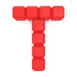 letter T cubic red