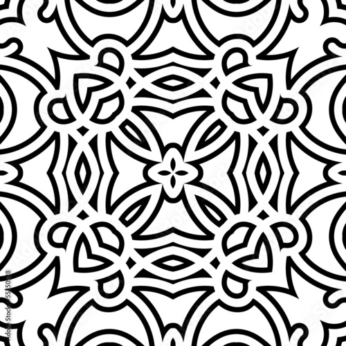 Black and white lattice, geometric seamless pattern