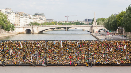 PARIS - JULY 27: Lockers at Pont des Arts symbolize love for eve