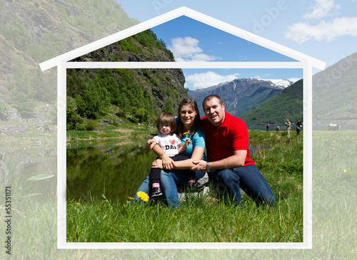 happy family spends time together on nature