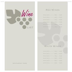 Lista dei Vini - Menu
