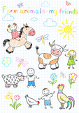 Vector sketches happy children's and farm animals