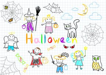 Vector sketches happy children's