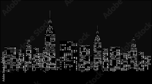 Modern city at night - vector illustration.