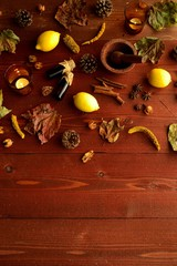 Lemon,aromatherapy supplies and autumn leaf
