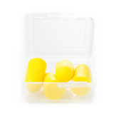 Earplugs in a box for careful storage. Ear noise control protect