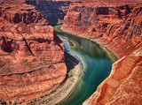 Horseshoe Bend, Arizona. Wonderful aerial view in summer season
