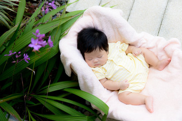 Asian baby  girl sleep in the garden
