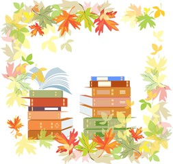 Stack of schoolbooks with autumn leaves