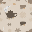 Tea seamless pattern of brown tint