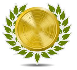 Lorbeerkranz mit Goldmedaille