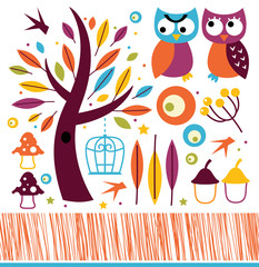 Cute autumn owls and design elements isolated on white