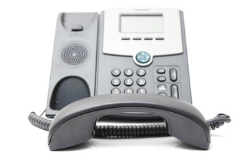 telephone off the hook on a white background