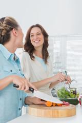 Pretty women preparing salad together